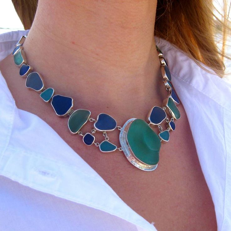 Sea Goddess Necklace - ♡ This stunning piece features 25 pieces of Aqua, Turquoise, Cobalt & Cornflower sea glass each bezel set in sterling silver.