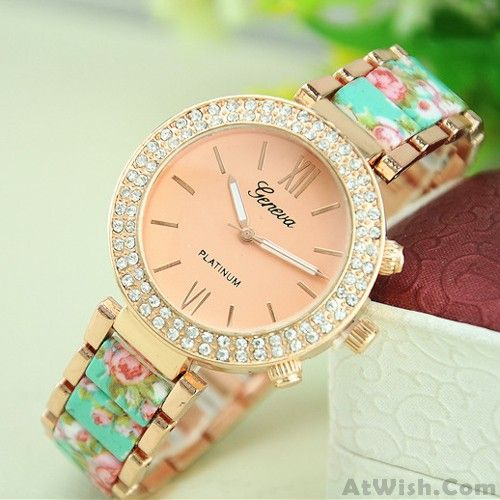Wow~ Awesome Retro Noble Rhinestone Ceramic Metal Floral Watch! It only $19.99 at www.AtWish.com! I like it so much<3<3!