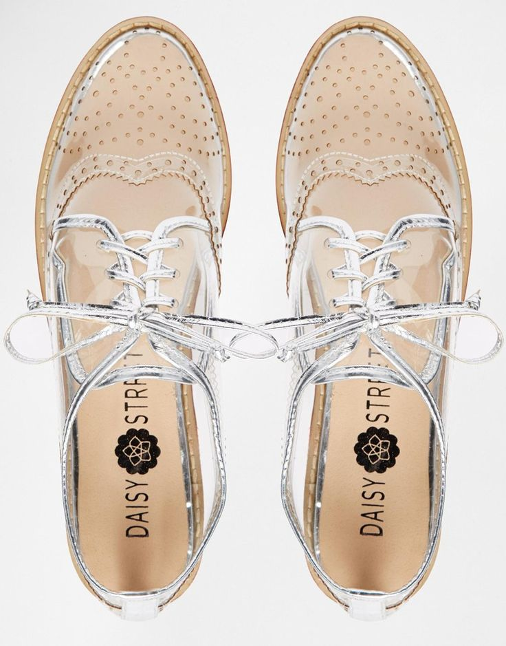 Image 4 of Daisy Street Clear Brogue Flat Shoes