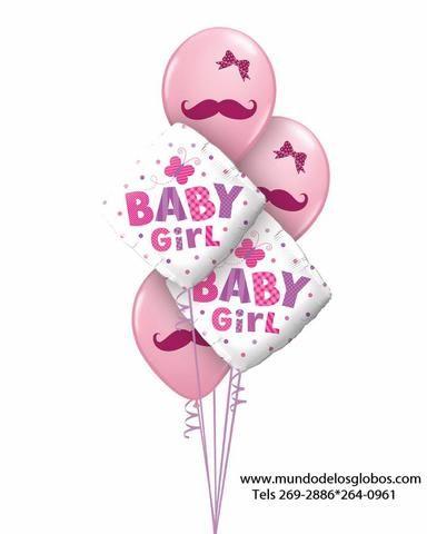 Bouquet de Diamantes Baby Girl con Globos Rosados
