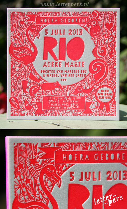 letterpers_letterpress_geboortekaartje_Rio_Fluor_neon_Roze_flamingo_vierkant_uniek