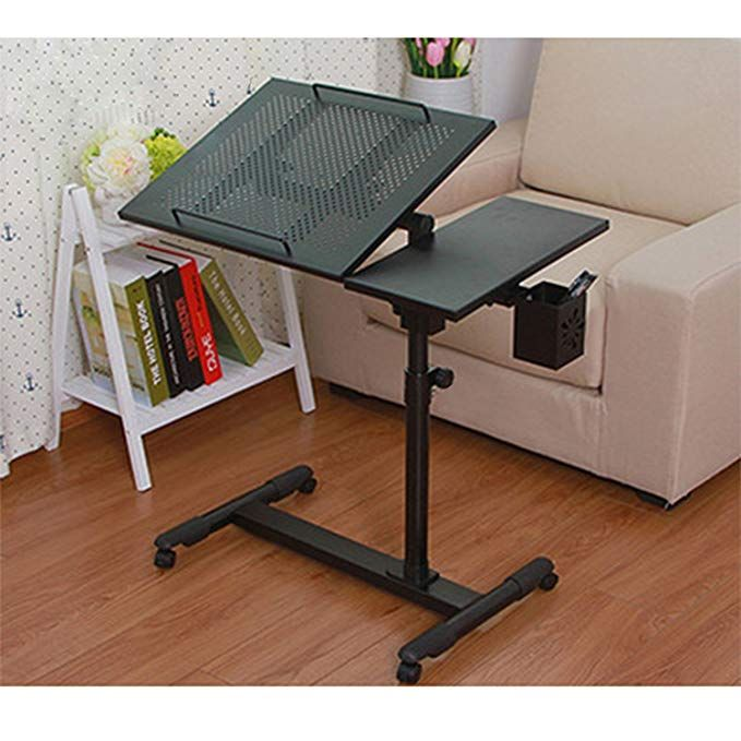 Laptop Desk Portable Table Adjustable Height And Tilt With Rolling Casters And Vents Over Sofa Bed Table Blac Adjustable Height Table Bed Table Portable Table