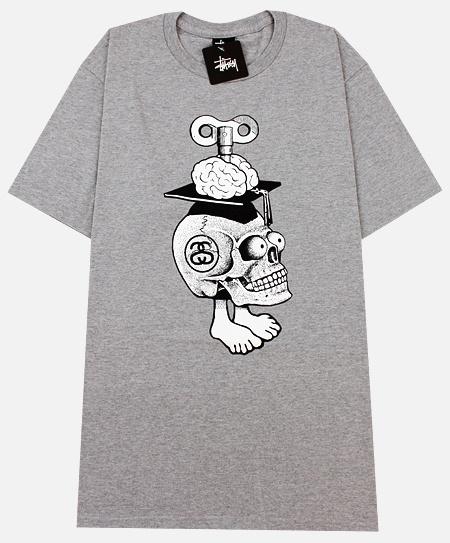 Stussy Bonehead T-Shirt in Grey Heather