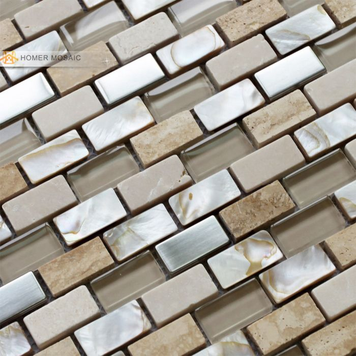 free shipping! cream color stone, glass mixed mother of pearl mosaic tiles for bathroom shower floor and wall kitchen backsplash(China (Mainland))