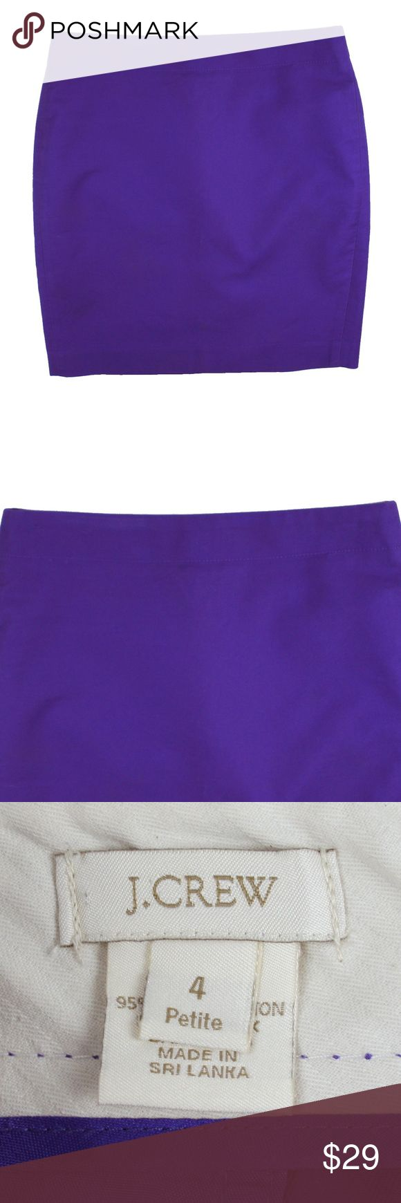 "J CREW Purple Cotton No. 2 Pencil Skirt Size - 4 P  This purple pencil skirt from JCREW is in excellent condition. It features a zip up closure. Made of 95% Cotton, 5% Lycra  Measures: Waist: 29"" Hips: 37"" Total Length: 19"" J. Crew Skirts Pencil"