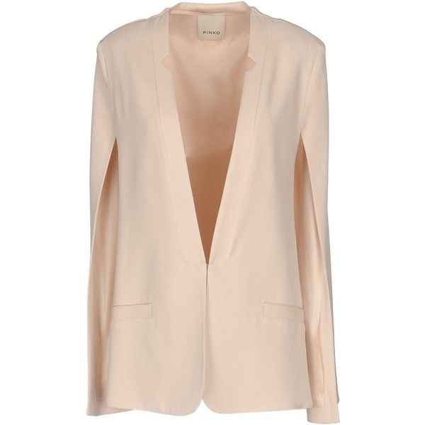 Pinko Blazer ($244) ❤ liked on Polyvore featuring outerwear, jackets, blazers, light pink, pink blazer, long sleeve blazer, light pink blazer, pink blazer jacket and stretch blazer