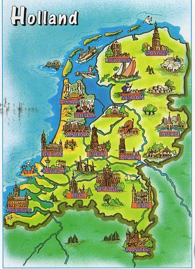 Holland map postcard - NL-1342477 by kyoto348, via Flickr