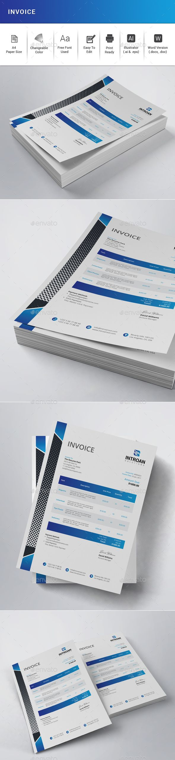 Invoice Features:  • Illustrator (.ai & .eps) • MS Word Included (.docx & .doc) • Very Easy to Edit • Page size A4 (210×297mm) • Bleed 0.25 inch • Only Free Fonts Used • CMYK, 300DPI, Print Ready