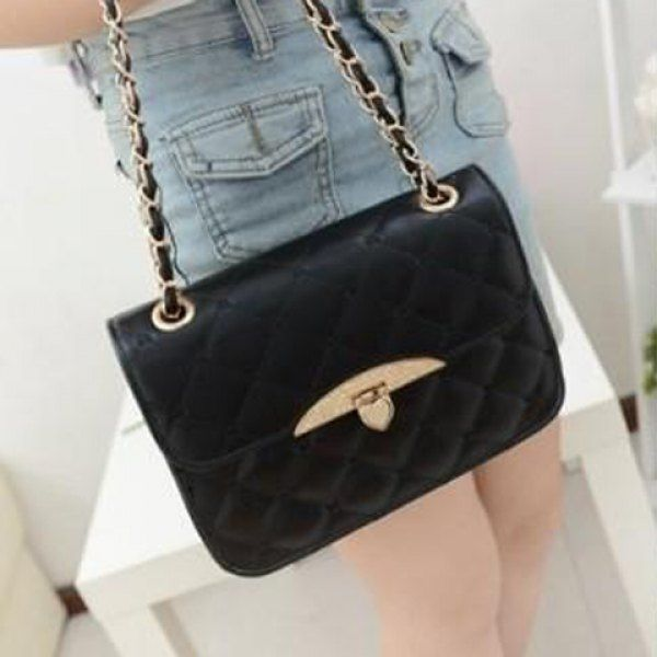 Fashion Metallic Hasp and Checked Design Women's Shoulder Bag #hats, #watches, #belts, #fashion, #style