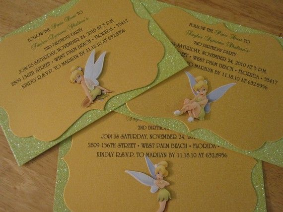 Tinkerbell Inspired Invitation Set of 20 by theinspirednote, $60.00
