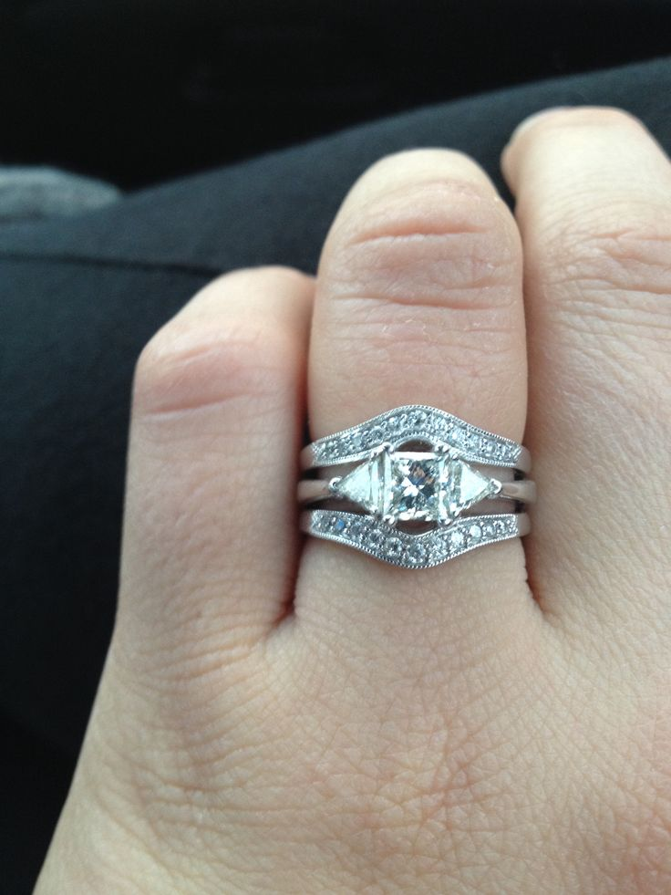 princess cut with trillions and enhancer wedding band