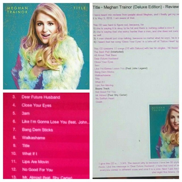 Check out my out review on Meghan Trainor's CD http://iheartcelebrities519.blogspot.ca/2015/05/title-meghan-trainor-deluxe-edition.html