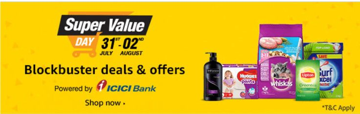 (adsbygoogle = window.adsbygoogle || []).push();  Amazon Super Value Day Sale – Amazon India online shoppingbringBuy Daily Need Products & Get CashBack Upto Rs.1200 (August 01 to 02).Amazon India has come up with an awesome offer called Super Value Day offer and they are...