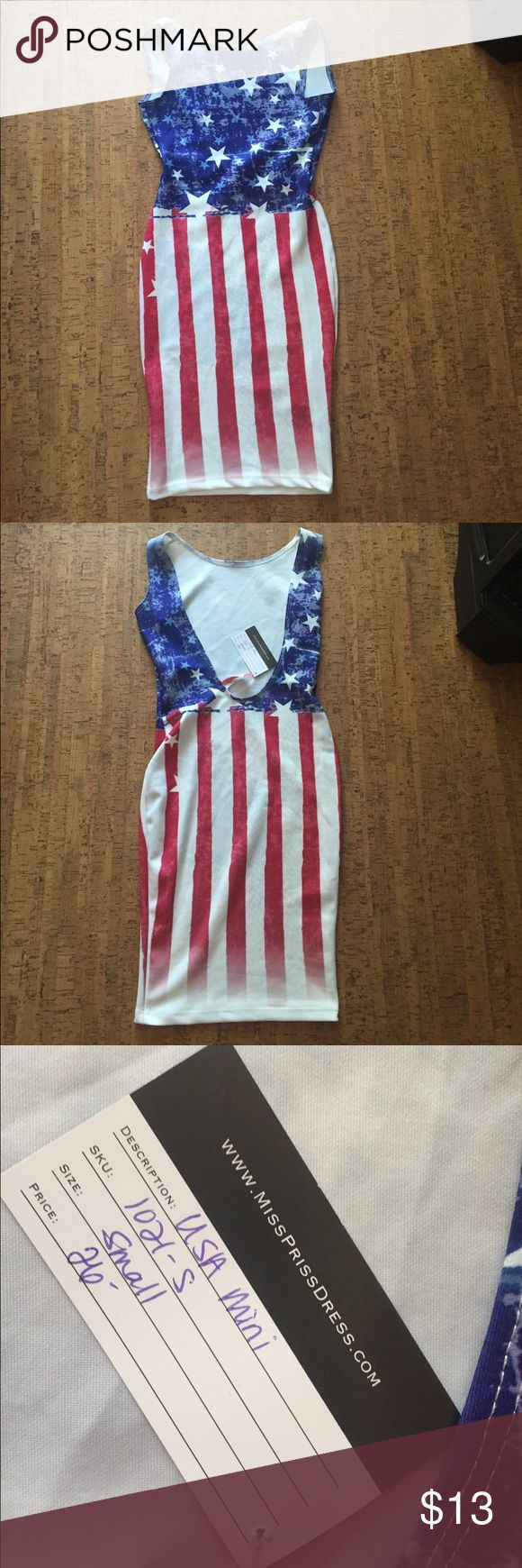 American Flag dress Reposhing this Cute American flag dress. It's a size smaller than I need. Dresses Mini