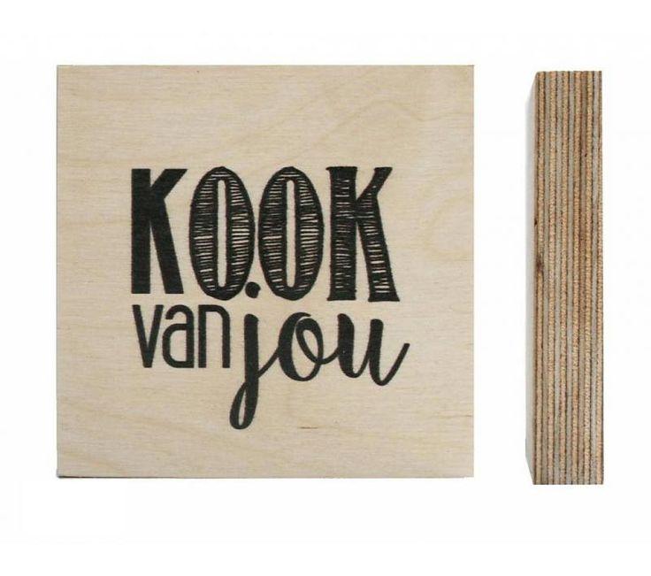 Houtprint - Kook van jou www.Millows.nl