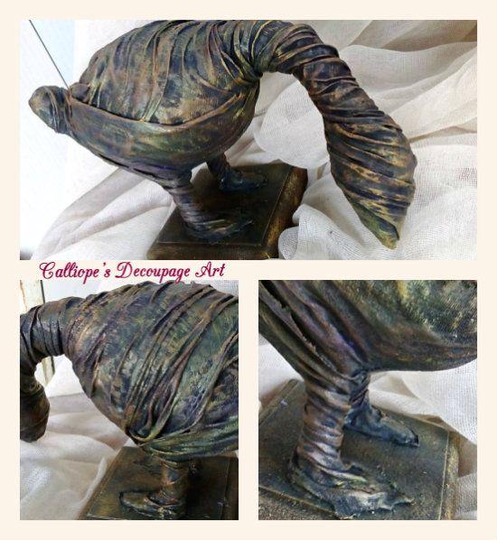 Διακοσμητικό αγαλματίδιο σε μορφή χήνας | Calliope's Decoupage Art