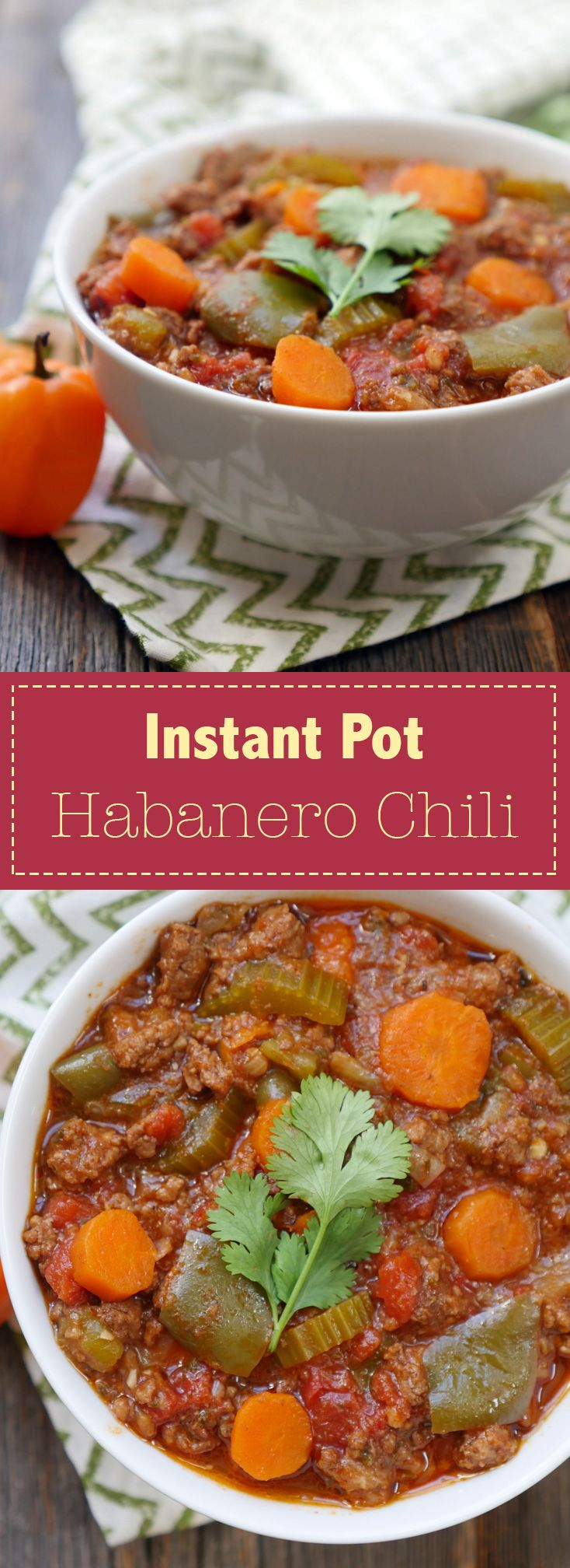 This Instant Pot Habanero Chili is a hearty dish that tastes slow cooked but can be ready to eat in less than an hour! Recipe by Ashley of MyHeartBeets.com