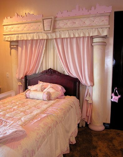 Really enjoying the creativity using the pillars on the sides of the bed, plus the curtains and valance!