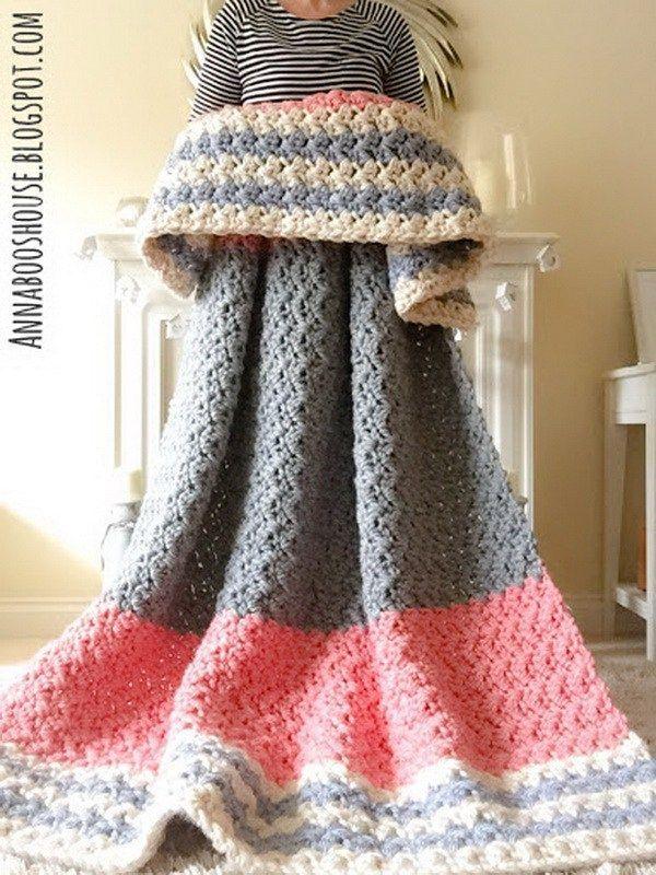 244 best Yarn blankets images on Pinterest   Afganos de ganchillo ...