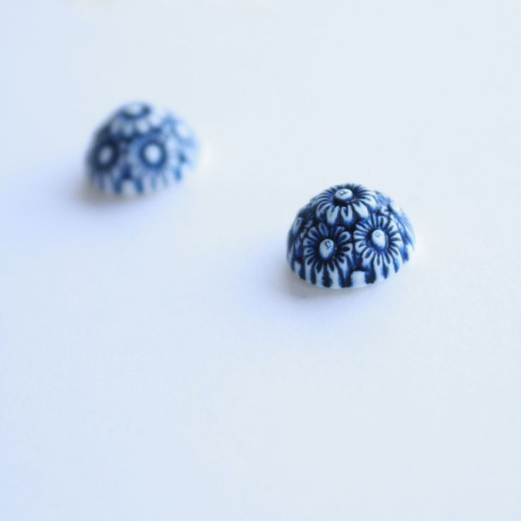 Florence Earrings. Beautiful domes of navy and white florals on post backed studs.