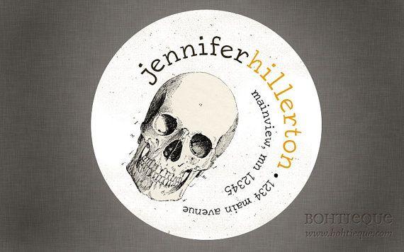 Personalized Return Address Label Sticker - Skull Address Labels, Bag Stickers, Promotional Tags