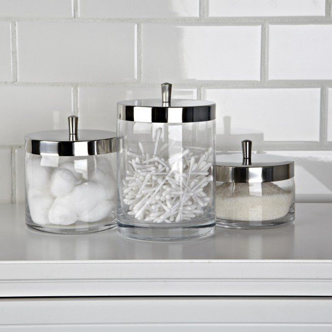 Modern apothecary design keeps bathroom necessities at your fingertips. Perfect for cotton balls, swabs, bath salts, mini soap bars, make-up sponges, hair accessories, and more.