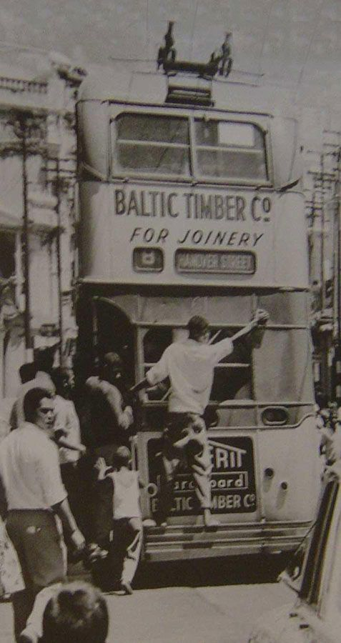 Vintage Historical Cape Town photos - old pictures of Cape Town Bus in District 6