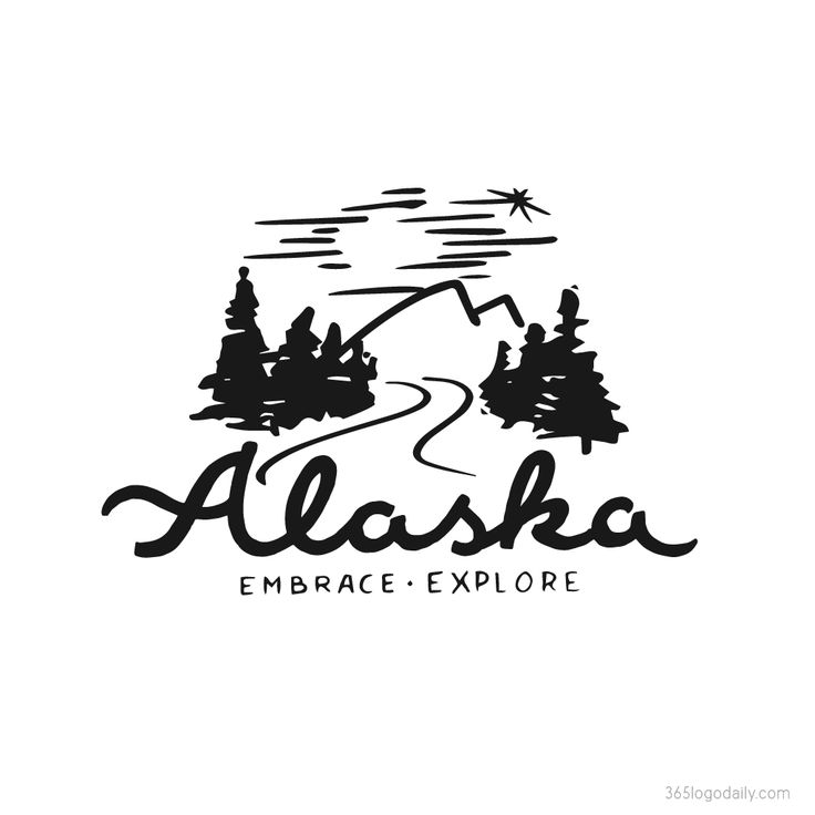 Alaska lettering and illustration - Snapchat geofilter design Vintage style illustration