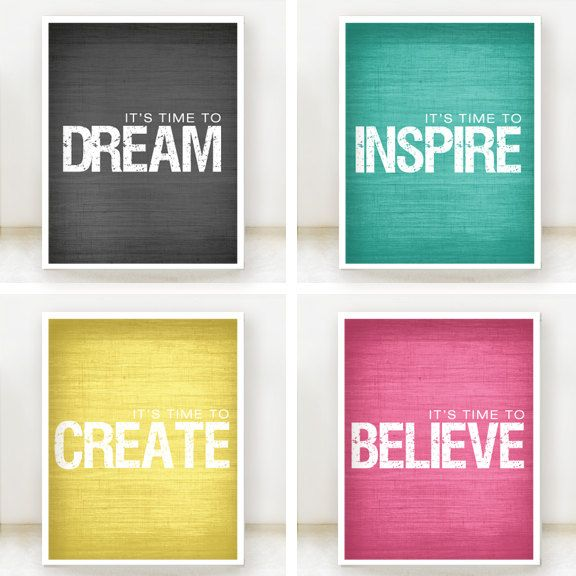 Inspire, Believe, Create, Dream - Inspirational Prints - Set of 4 - 8x10 Posters - Teal, Yellow, Grey, Hot Pink - Customize color