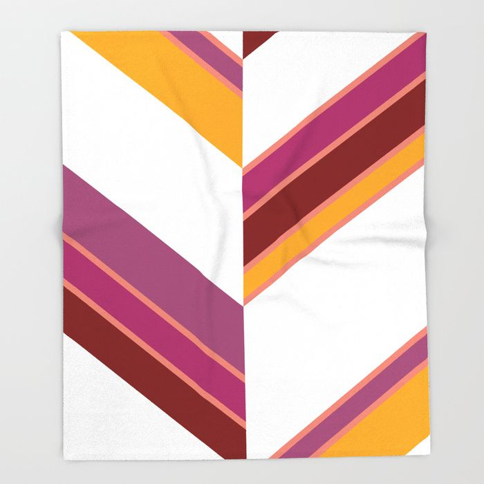 $49.99 Made of 100% polyester and sherpa fleece, these might be the softest blankets on the planet. #blanket #home #decor #stripes #red #purple #violet #orange #white #elegant #modern #pattern #geometric #asymmetric #buyart #society6 #gift #giftideas