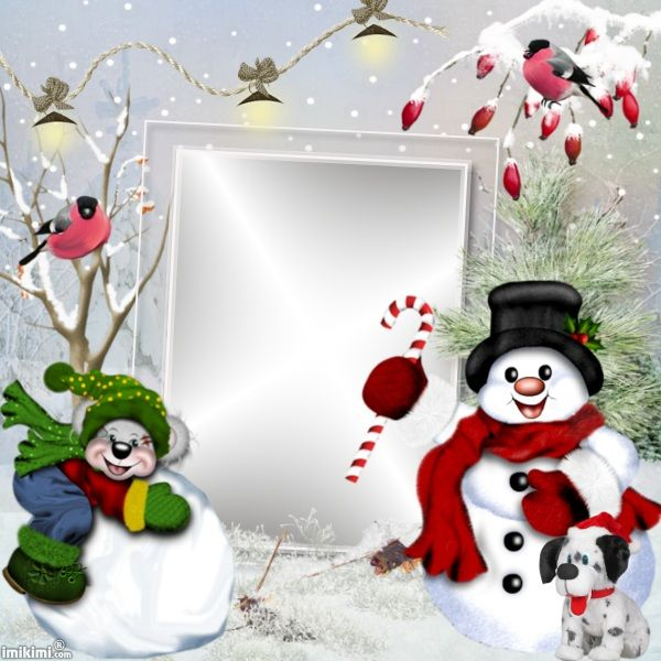 Happy winter card. Click on it to add your photo. I love the snowman!