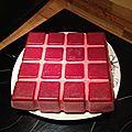 150 g de coulis de fruit + 1 feuille de gélatine pour le glaçage Faire chauffer la moitié du coulis puis y incorporer la gélatine...