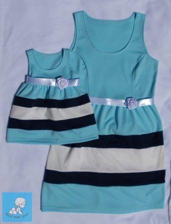 c6c8563d91 Türkizkék anya-lánya ruha szett Alkalmi anya-lánya szett gyönyörű türkizkék  színben. puha