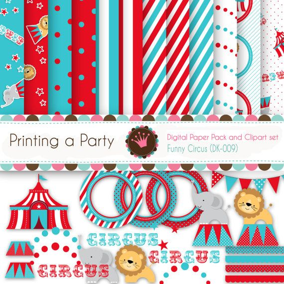 Digital Paper and Clip Art set Funny Circus. For Personal and Small Commercial Use