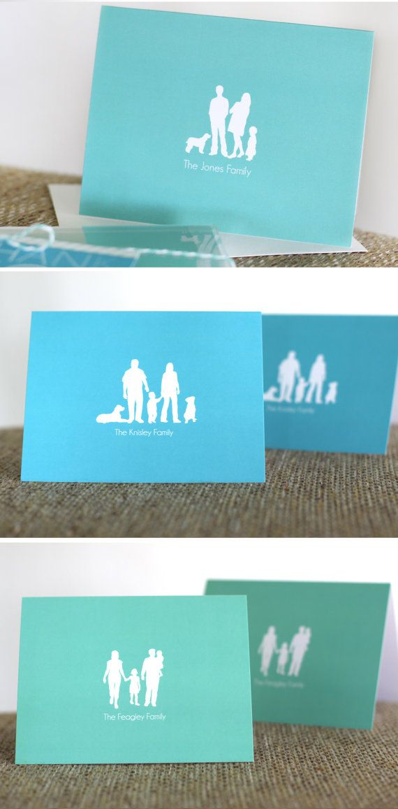 Personalized stationery - Family silhouette notecards - Set of 10 - Wedding thank you cards - Shower gift - Hostess gift