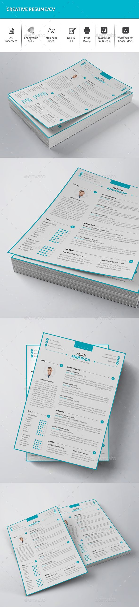Creative Resume / CV Vector Template EPS, AI #design Download: http://graphicriver.net/item/-creative-resumecv/13828429?ref=ksioks