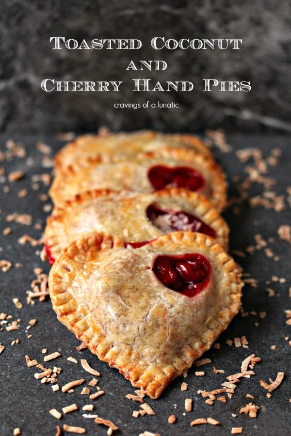 Toasted Coconut and Cherry Hand Pies Perfect dessert for Valentines Day.