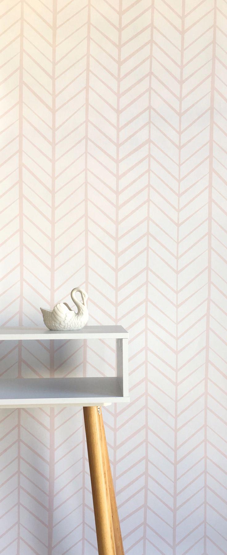 Pink and white herringbone wallpaper