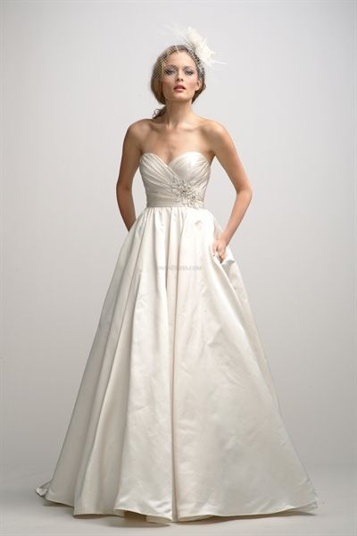 Simple Ivory Wedding Dresses, Satin Sweetheart Wedding Dresses... Like the bodice and skirt size. Maybe with tulle skirt, or in taffeta so not so shiny.