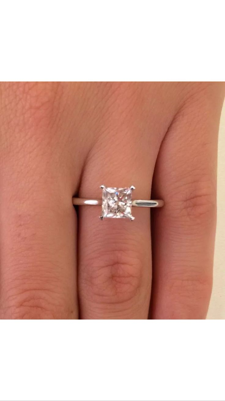 Solitary one carat princess cut engagement ring