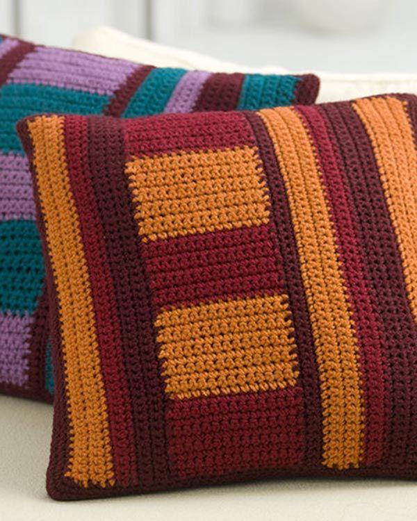 Best Free Crochet » Free Mod Striped Pillows Crochet Pattern from RedHeart.com