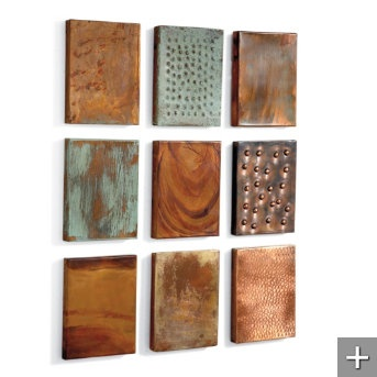 Set of Nine Outdoor Copper Wall Tiles