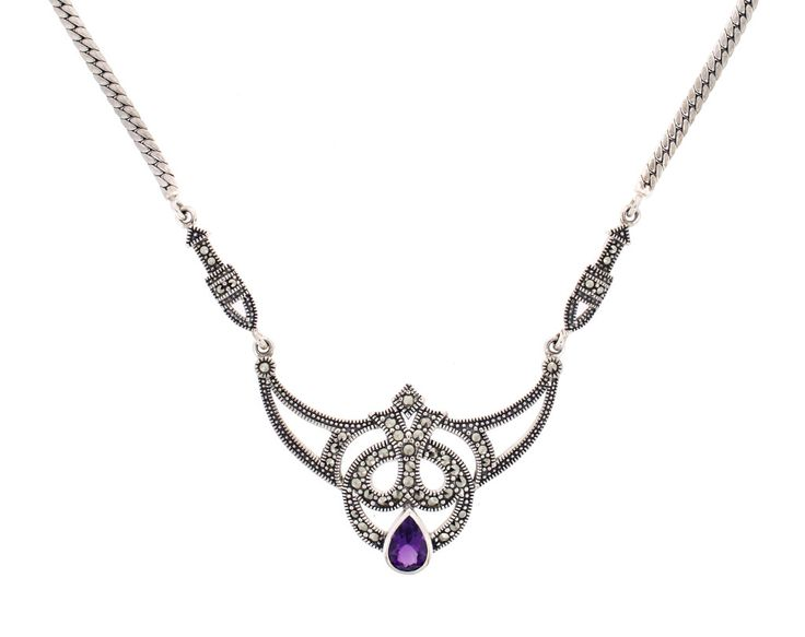 """Amethyst Necklace €168.00 Art Deco style necklace set with purple Amethyst and marcasite in sterling silver.  This gorgeous 1920's vintage style chain makes a real statement with its tear drop purple amethyst stone beautifully set amongst ornate detail.  The necklace measures 18"""" in total length and fitted with a secure bolt ring clasp."""