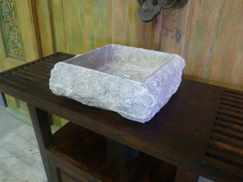 Rock Sink Bowl : Balinese Stone Rough Rock Bathroom Round Basin Sink Bowl Large 40cm ...