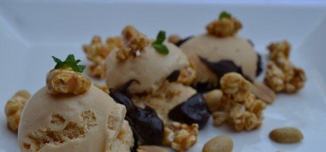 Salted Caramel Ice cream with Popcorn Caramel, Chocolate Sauce and Peanuts