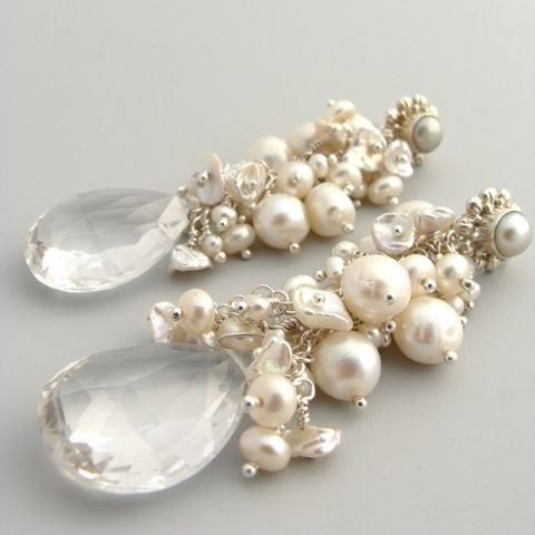 Karen Sugarman Designs - Beloved - Ivory Pearls and Rock Crystal Briolette Earrings
