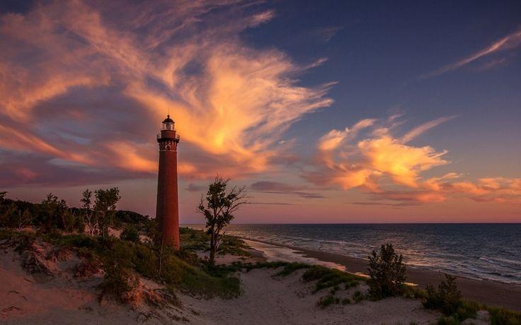 песок, маяк, озеро мичиган, закат, пляж