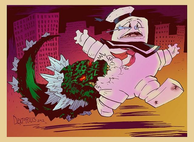 Godzilla snacking on Stay Puft Marshmallow man