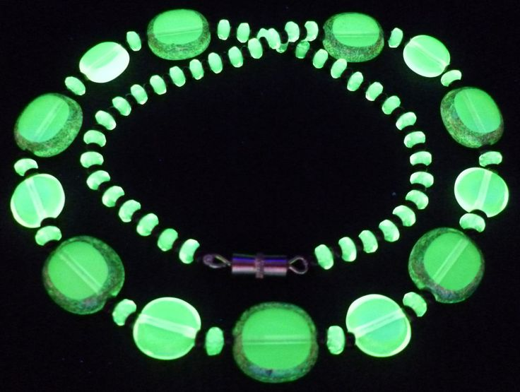 """17"""" 430mm Czech Glass Beads Necklace Uranium Yellow Vintage UV Glowing by MuchMoreThanButtons on Etsy"""