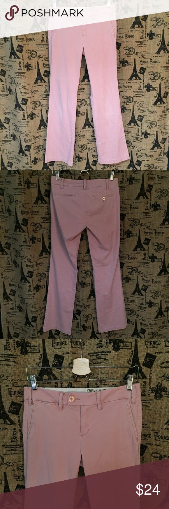 """Anthropologie Paper Boy Light Pink Pants Size 2 Brand: Paper Boy, Anthropologie Size: 2 Description: Button waist, zip fly; small stain see pic Condition: Good **Size tags vary, check measurements** Waist: 32"""" Hip: 35"""" Rise: 8.5"""" Inseam: 32"""" If more measurements are needed, please don't hesitate to ask! Bundle Discount Available! Reasonable offers welcome! No trades please.. Thanks for stopping by!! #Poshmark #Poshmarkapp #Poshmarkcloset Item #2030 Anthropologie Pants Straight Leg"""